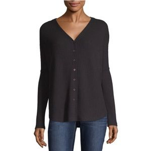 NWT a.n.a L/S V-Neck Waffle Button Front Top